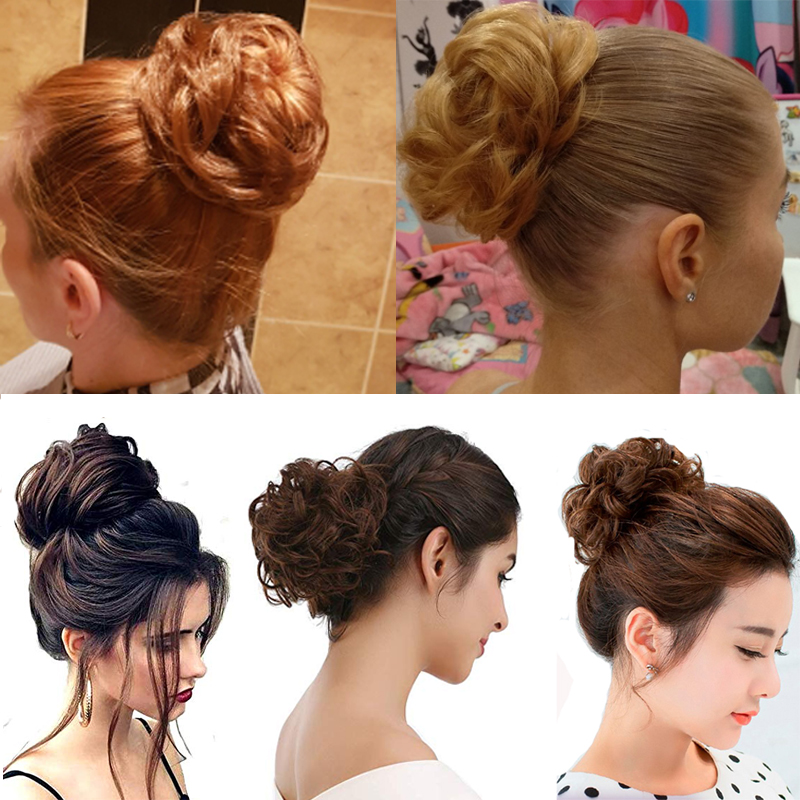 AliLeader Chignon Curly Fake Hair Bun Ponytail Extensions Short Hair Synthetic Messy Donut Hair Drawstring Ponytail for Woman1PC in Synthetic Ponytails from Hair Extensions Wigs