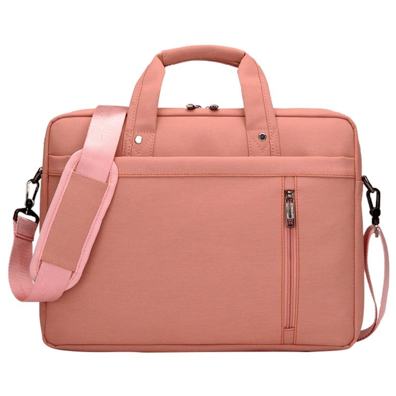 17 Inch big size Nylon Computer Laptop Solid Notebook Tablet Bag Bags Case Messenger Shoulder unisex men women Durable (Pink)