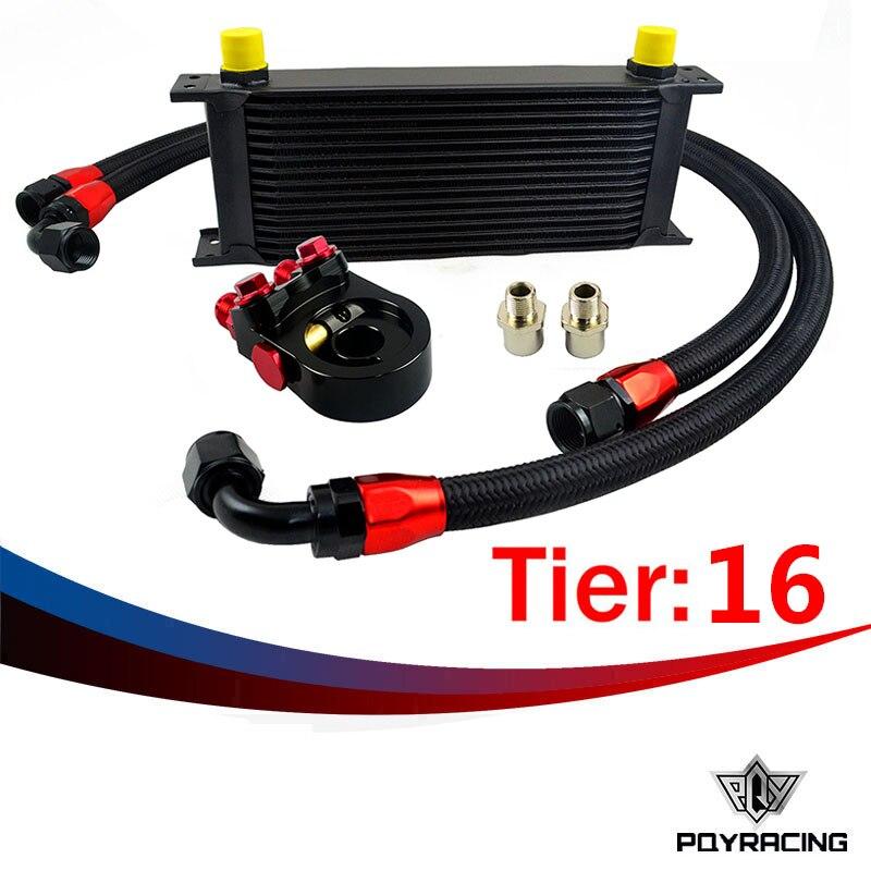Здесь можно купить   PQY RACING- Universal 16ROWS OIL COOLER ENGINE KIT +AN10 oil Sandwich Plate Adapte with Thermostat +2PCS NYLON BRAIDED HOSE LINE Автомобили и Мотоциклы