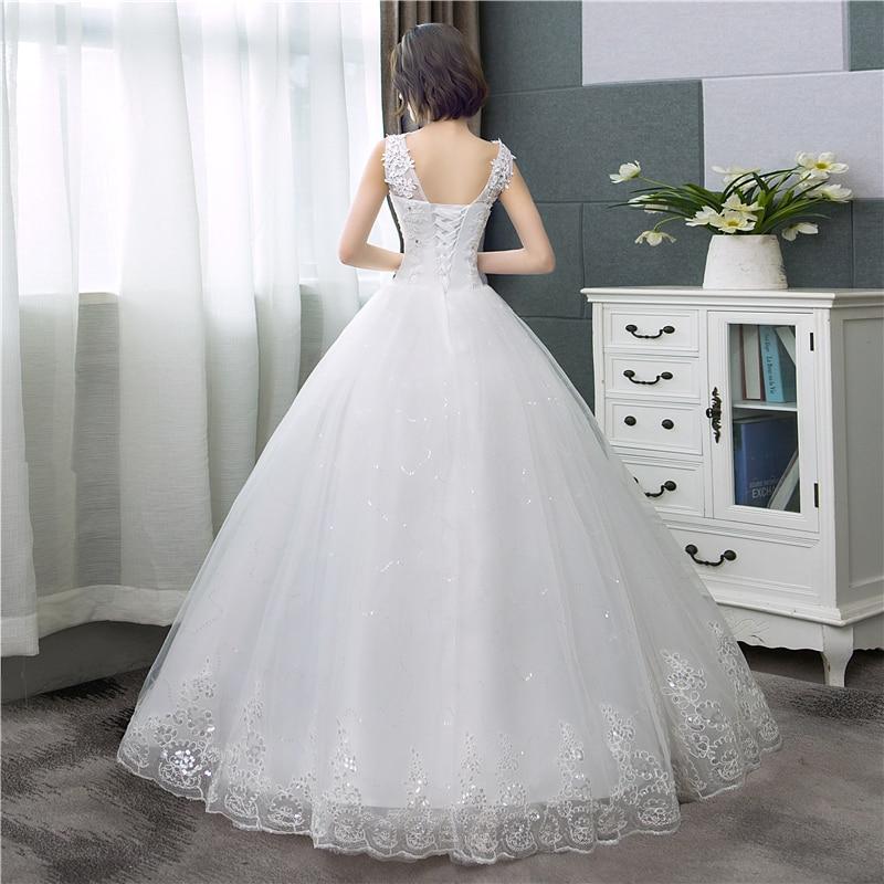 Cheap Korean Style V-Neck Lace Tank Sleeveless Floral Print Ball Gown Wedding Dress 2021 New Fashion Simple estidos de noivas CC 2