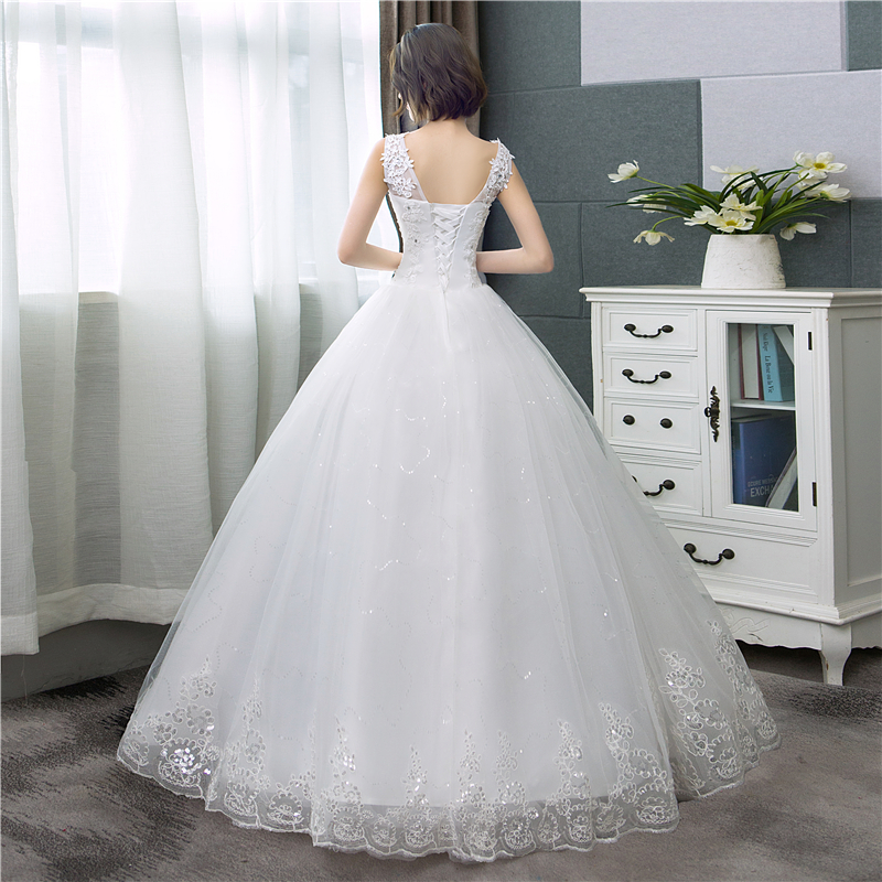 Cheap Korean Style V Neck Lace Tank Sleeveless Floral Print Ball Gown Wedding Dress 2021 New Fashion Simple estidos de noivas CC