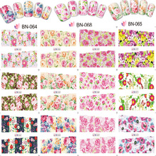 12 Sheets/Lot Nail BN61-72 Flower Rose Art Water Transfer Decal Sticker Full DIY Decorations Tattoo (12 DESIGNS IN 1)