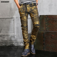 AIMENWANT European silver jeans mens gold coated skinny biker jeans teenages design slim pencil pants free shipping trousers