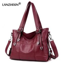 Lanzhixin Women Leather Handbags Designer Soft Shoulder Bags For Women Messenger Bags Crossbody BagsTop-Handle Bags Bolsa 3098