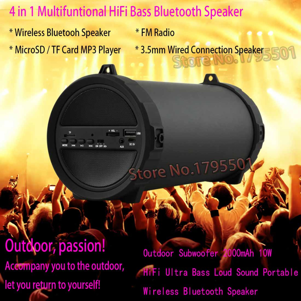 2018 Hottest Outdoor Sports Subwoofer 2000mAh 10W HiFi Bass Loud Sound Portable Wireless Bluetooth Speaker Audio Player FM Radio letv bluetooth wireless speaker outdoor portable mini music player subwoofer