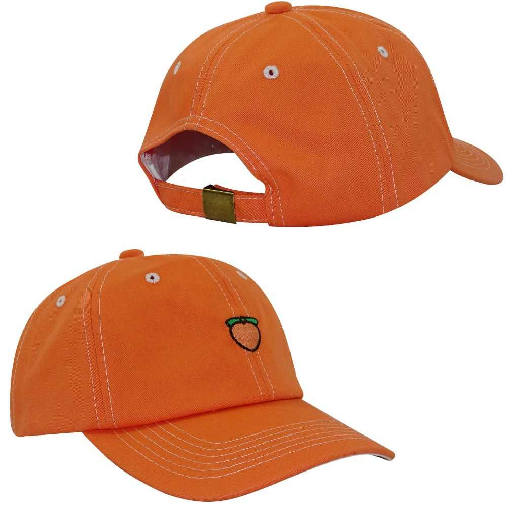 7b60e2672a1a2a MinanSer Men's Cotton Baseball Cap Peach embroidery womens orange color baseball  hats Mens Dad Cap Hat