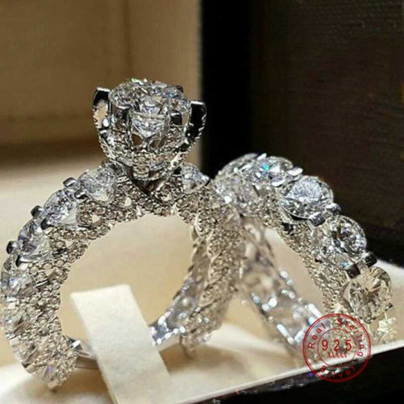 Luxury Brand Fashion 925 Sterling Silver Bridal Set Ring for Women with Paved Micro Hollow out Zircon Crystal Wedding Jewelry