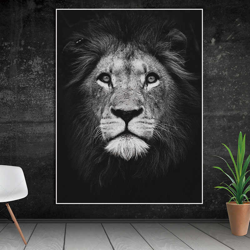 5D Diamond Bordir Animal Lion DIY Diamond Lukisan Cross Stitch Persegi Hitam Putih Berlian Mosaik Dinding Kanvas Seni