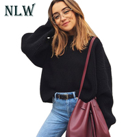 NLW Turtleneck Lantern Long Sleeve Women Black Sweater Knitted Pullovers Casual Red Jumpers 2017 Autumn Winter