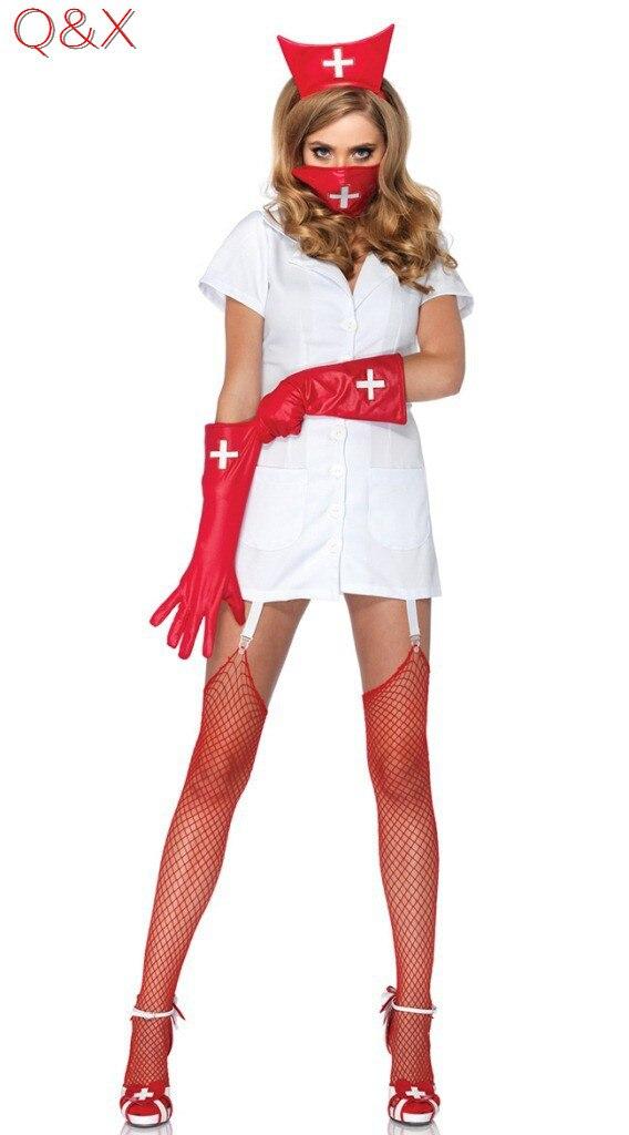2ecfee83a Yq9 2017 hot erotic francês traje cosplay enfermeira sexy lingerie dia das  bruxas 4 peças set