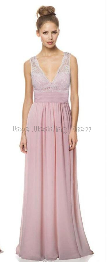 Graceful V Neck Floor Length Prom Gown A Line Wedding Party Backless font b Bridesmaid b