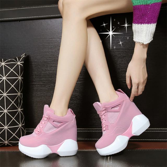 Mujeres Zapatos Casuales Invisible Súper zapatos de tacón Alto con cordones de Moda 2016 Nuevo Sping Otoño Transpirable Inferior Grueso de Alta calidad
