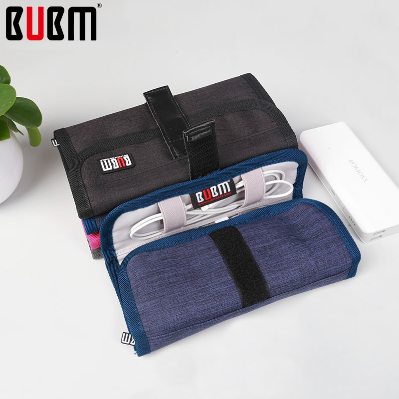 BUBM Multifunction Roll Bag For Data Wire Reciving Bag Organizer Earphone Bag Travel Tour Portable Power Bank Bag Case