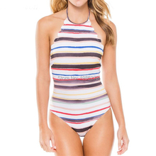 2017 push up new feminino swimwear Halter Top swiming suit one piece swimsuit solid sexy women bathing suit D072 plus size S-4XL