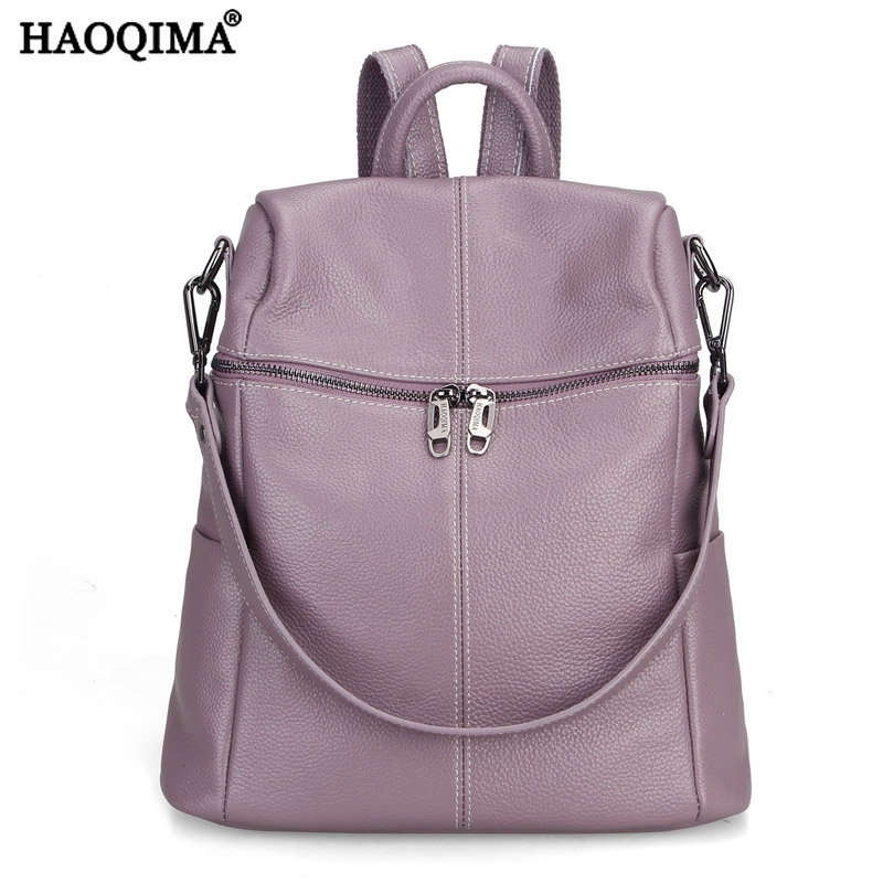 HAOQIMA Famous Brand Women Genuine Cow Leather Girls Backpack Designer Shoulder Girl School Bag For Teenagers Travel Backpacks brand bag backpack female genuine leather travel bag women shoulder daypacks hgih quality casual school bags for girl backpacks