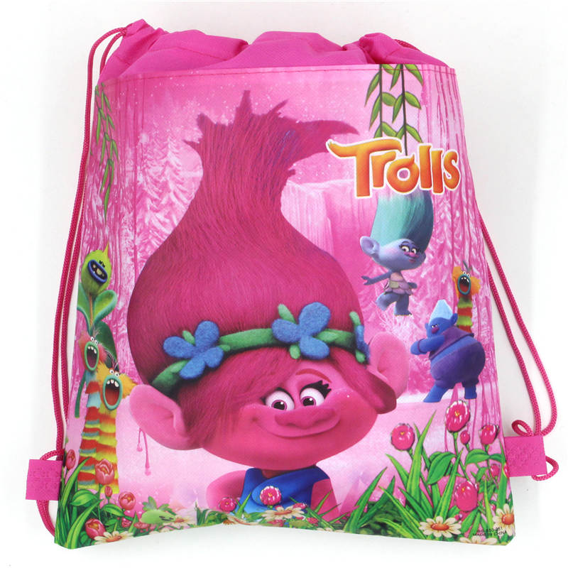 1Pcs Trolls Theme Boys Favors Birthday Party Non-Woven Fabric Backpack Drawstring Bags Kids Decoration Supplies Gift Bag