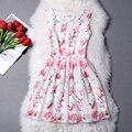 Vestido de verano mujeres una línea Mini o-cuello sin mangas del vestido de noche elegante más tamaño Vestidos de Organza arco