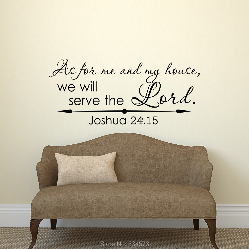Joshua 24:15 As For Me And My House Wall Art Stickers Decal Home DIY  Decoration Wall Mural Removable Bedroom Decor Wall Stickers 57x135cm