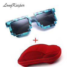 LongKeeper Kids Sunglasses Mosaics 4-13 Years Square Children Sun Glasses Boys Girls Pixel Eyewares Christmas Birthday Gift