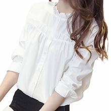 2019 New Yfashion Women Solid Color Stylish Stand Collar All-matching Casual Shirts