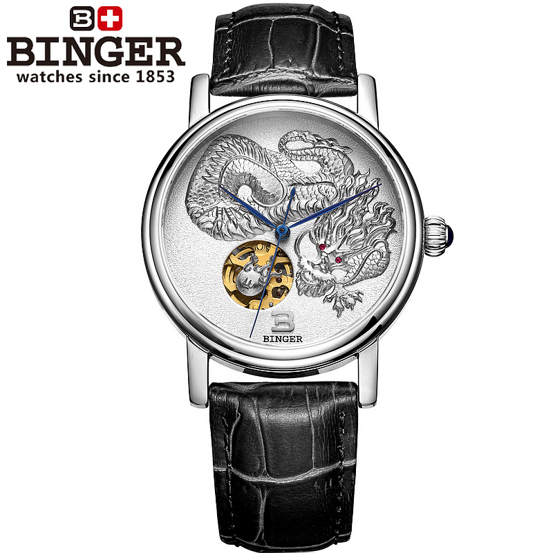 Switzerland genuine BINGER men automatic self-wind top famous brand fashion luxury watch leather strap gift watches