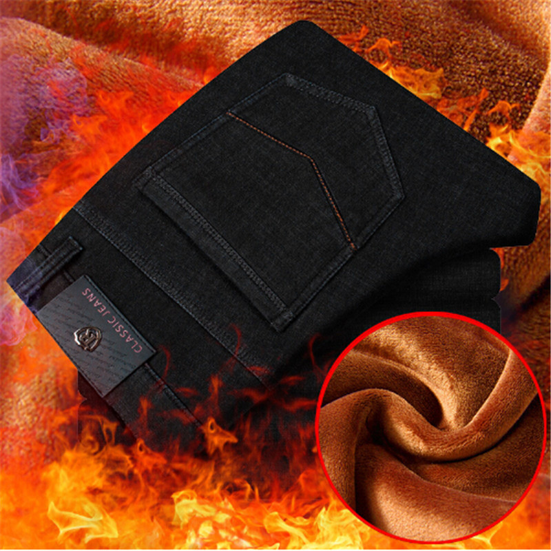 ФОТО Counter quality plus velvet jeans men Autumn and winter warm Slim stretch thick jeans straight classic jeans black blue