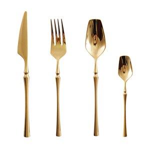 Image 2 - Hot Sale 24 pçs/set Ouro Puro europeu Louça faca de Cozinha Comida Ocidental Talheres de Aço Inoxidável 304 Talheres Jogo de Jantar