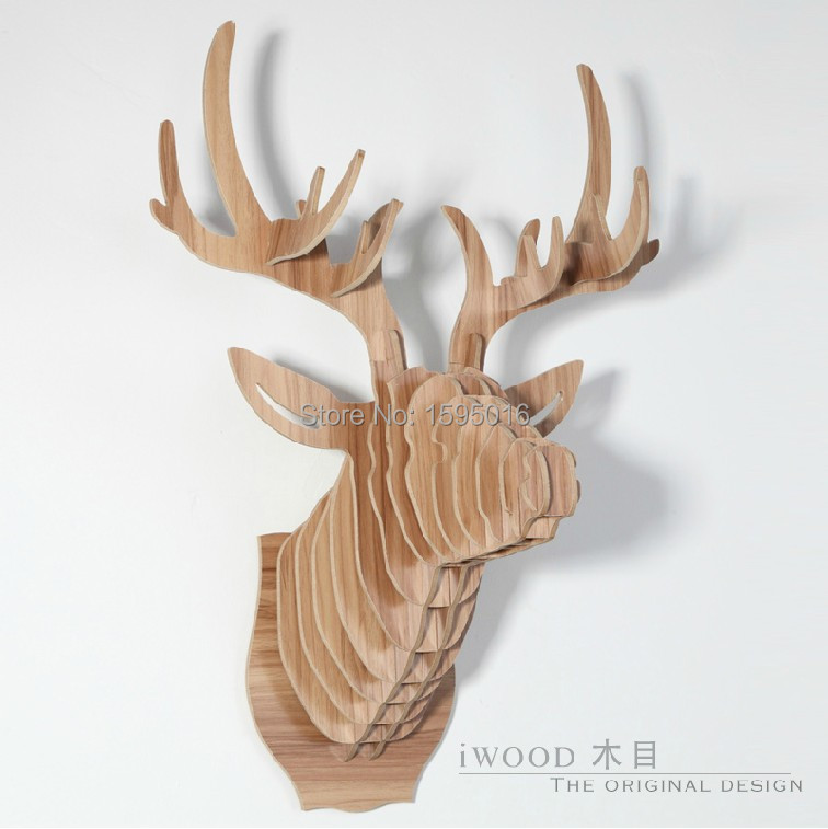 3d home decorationdeer head of diy wooden craftsanimal head wall decor - Animal Head Wall Decor