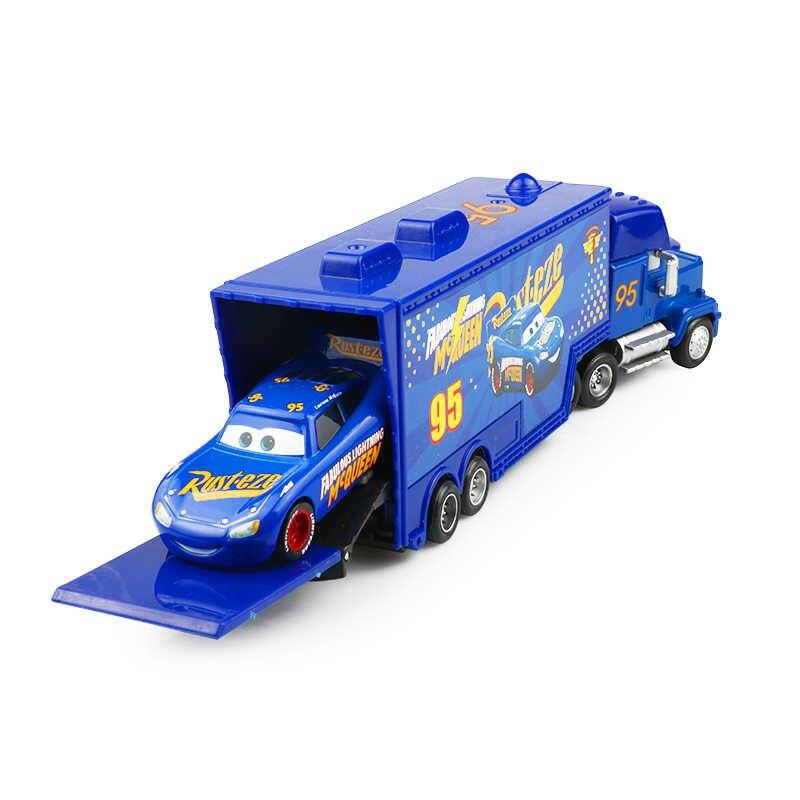 Disney Pixar Cars 2 3 ของเล่น Lightning McQueen Jackson Storm รถบรรทุก MACK ลุง 1:55 Diecast รุ่นรถสำหรับเด็กคริสต์มาสของขวัญ