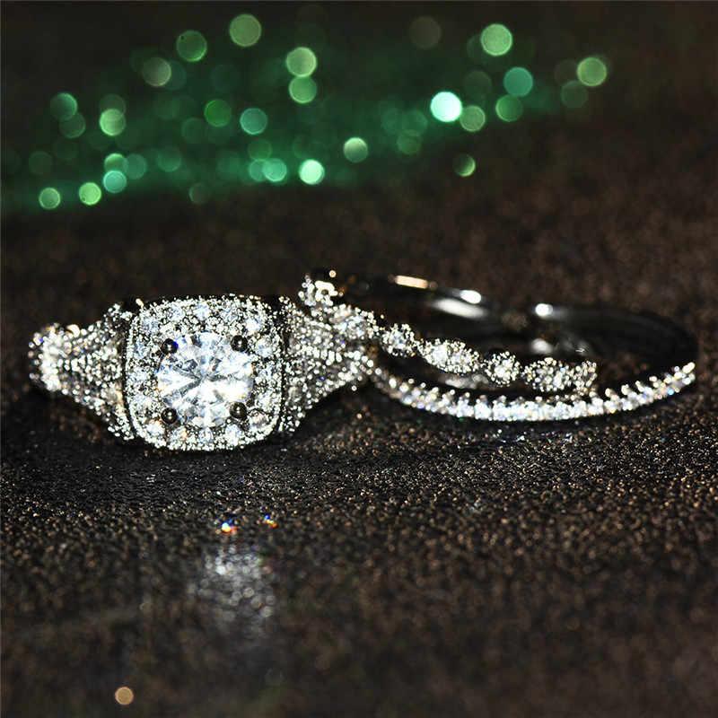 זכר נקבה גביש גדול אבן טבעת סט יוקרה 925 כסף עגול אירוסין טבעת בציר כלה חתונה לנשים