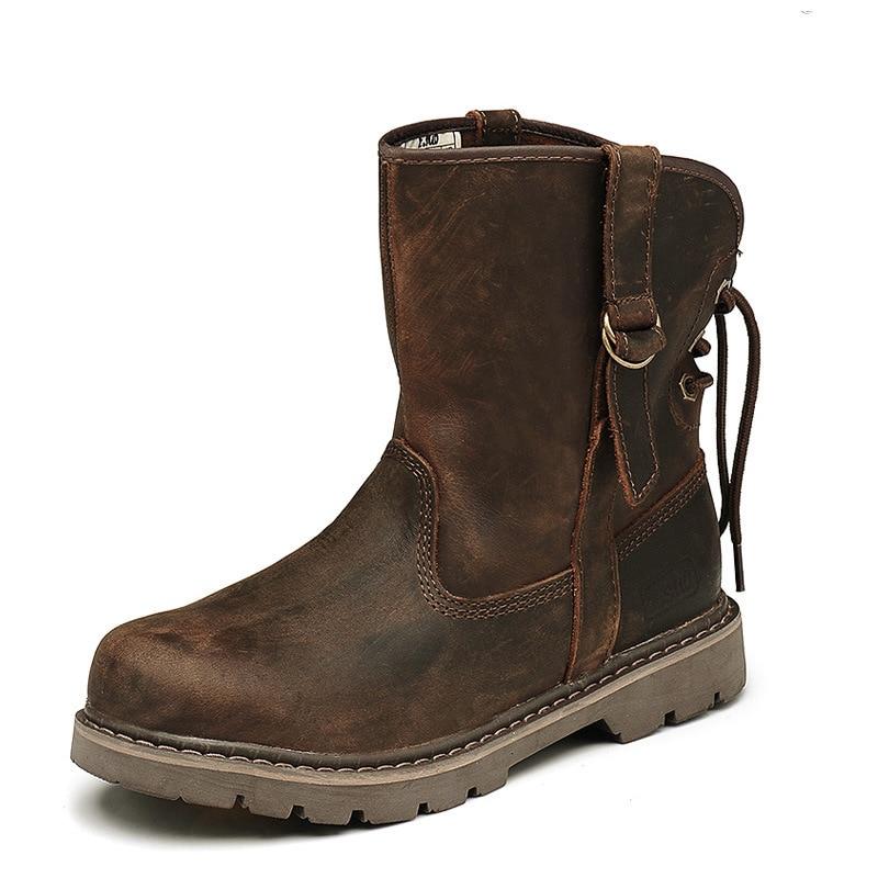 Classique couple bottes hommes et femmes bottes en cuir personnalité bottes à la mode chaussures pour femmes en peau de vache chaussures rétro