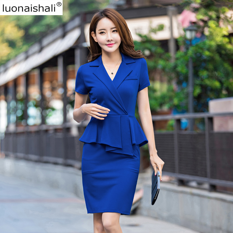 Casual Mi Élégantes Femmes Volants Z531 Coréenne Courtes À Black Manches Entaillé Taille Mode blue Robes Pk0wO8nX