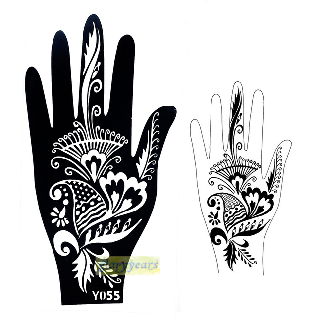 1pc new large mehndi henna glitter temporary tattoo sexy women hands body art pait design non