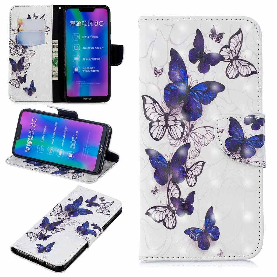 Stand Cases Leather Cover For Huawei Mate 10 20 Lite P10 P20 Pro Nova 3i P Smart Honor 8C Y5 Y6 Y7 2018 Card Slot Butterfly D07Z