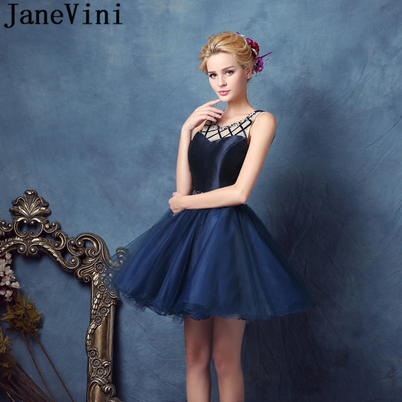 JaneVini Elegant 2019 Navy   Bridesmaid     Dress   Short Mini Beaded Wedding Party   Dress   2018 Pearls Keyhole Back Tulle Prom   Dresses