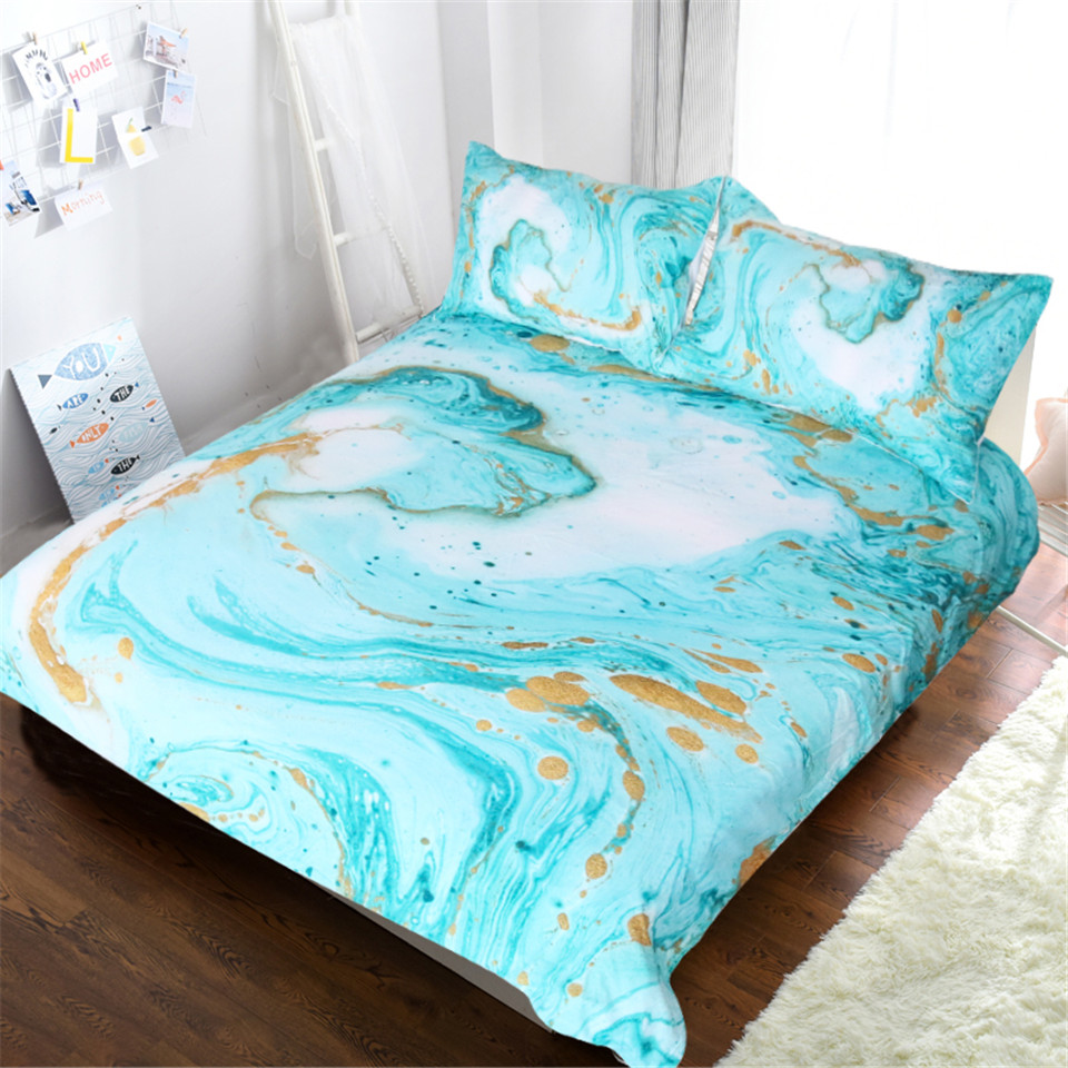 Mint Gold Glitter Turquoise Bedding Comforter Set Blessliving Chic Girly Marble Duvet Cover Abstract Aqua Teel Blue Quilt CoverMint Gold Glitter Turquoise Bedding Comforter Set Blessliving Chic Girly Marble Duvet Cover Abstract Aqua Teel Blue Quilt Cover