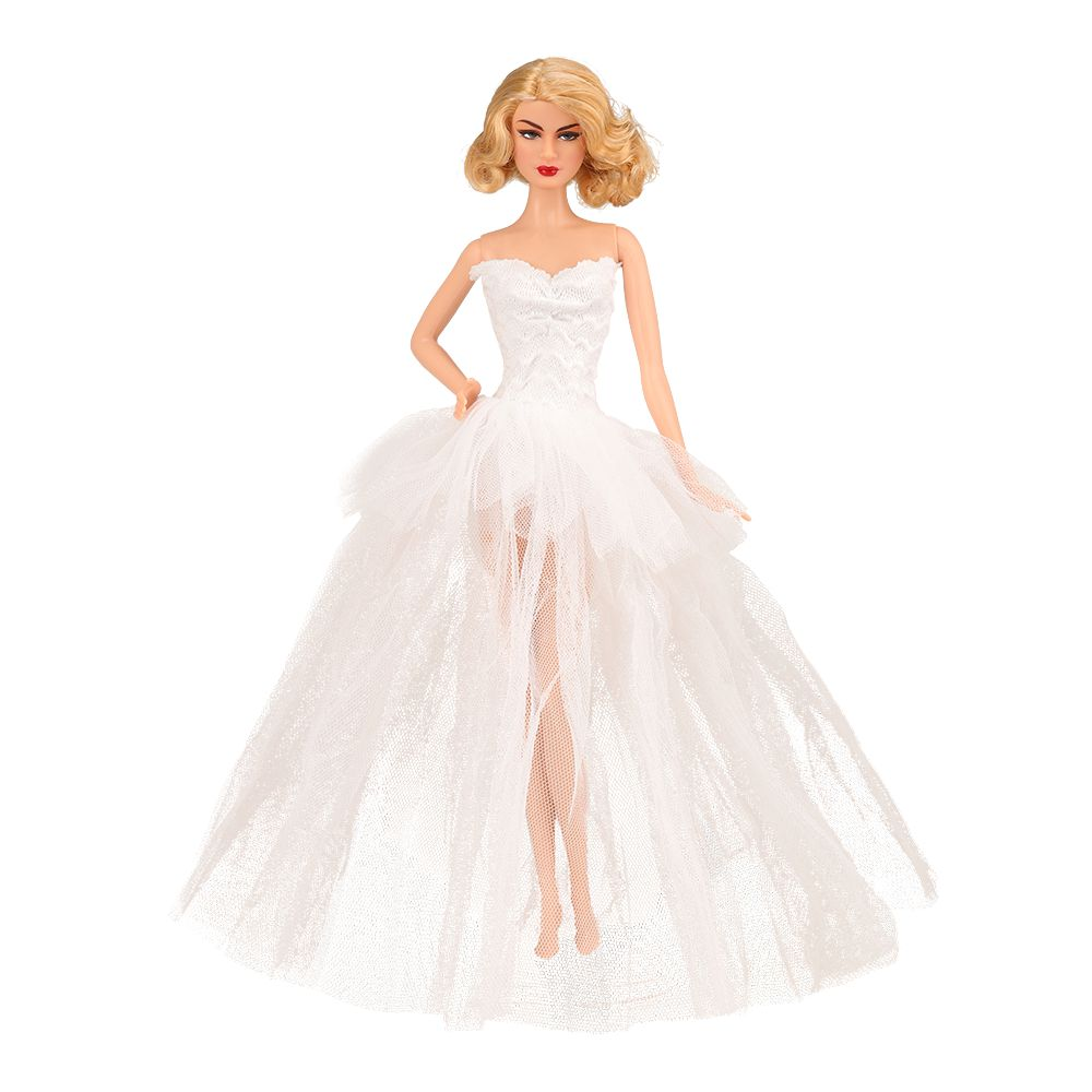 Newest Fashion Handmade Doll Accessories Long Tail Evening Party Wedding Lace Ballet Dress Clothes For Barbie Doll Dressing Cute