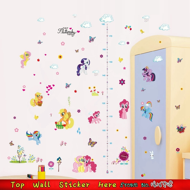 My Little Pony Wall Sticker Children Growth Height Measure Chart