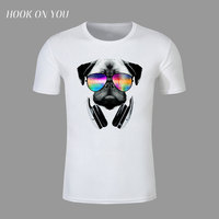נאה DJ חתול כלב בגדי גברים חולצות T צוואר עגול אופנה זכר 3D בעלי החיים מודפסים חולצת טריקו שרוול קצר קיץ נערי טיז צמרות