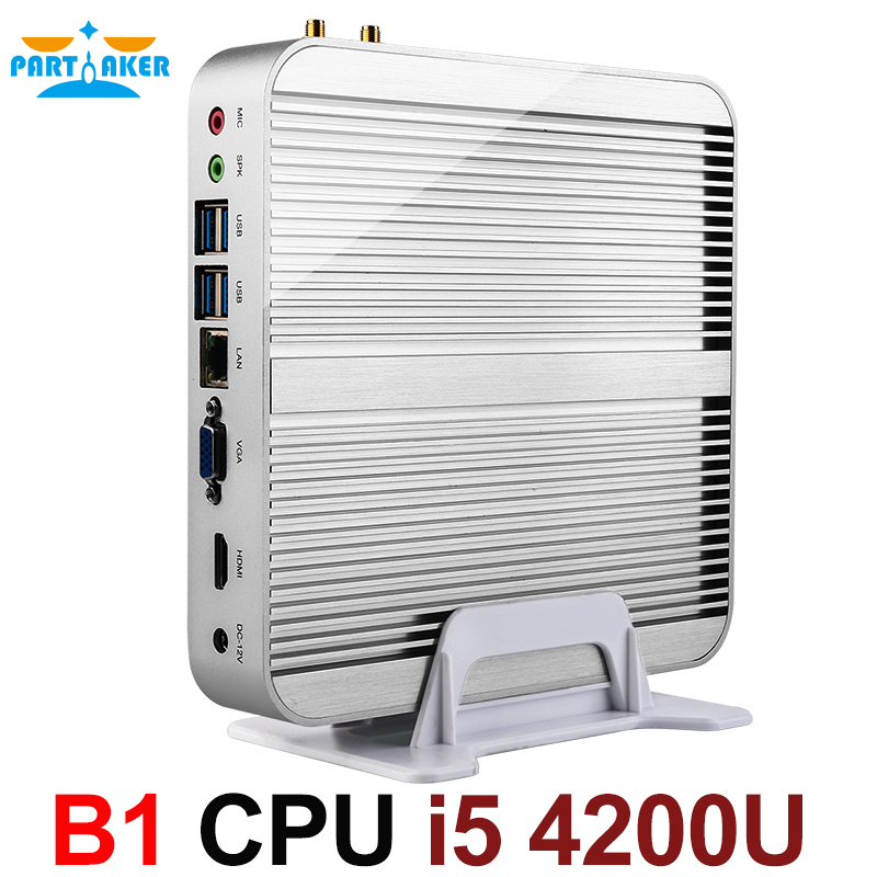 Fanless Barebone i5 Mini PC Win10 3 години гаранция Nuc Computer Intel Core i5 4200U 4K HTPC TV Box DHL Безплатна доставка