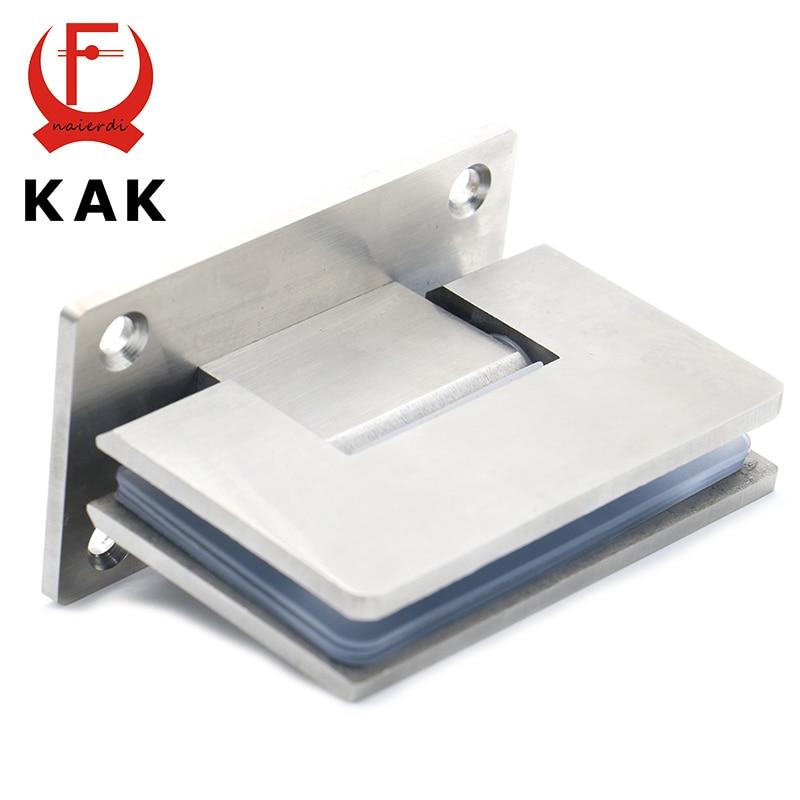 2PCS KAK 4913 90 Degree Open 304 Stainless Steel Wall Mount Glass Shower Door Hinge For