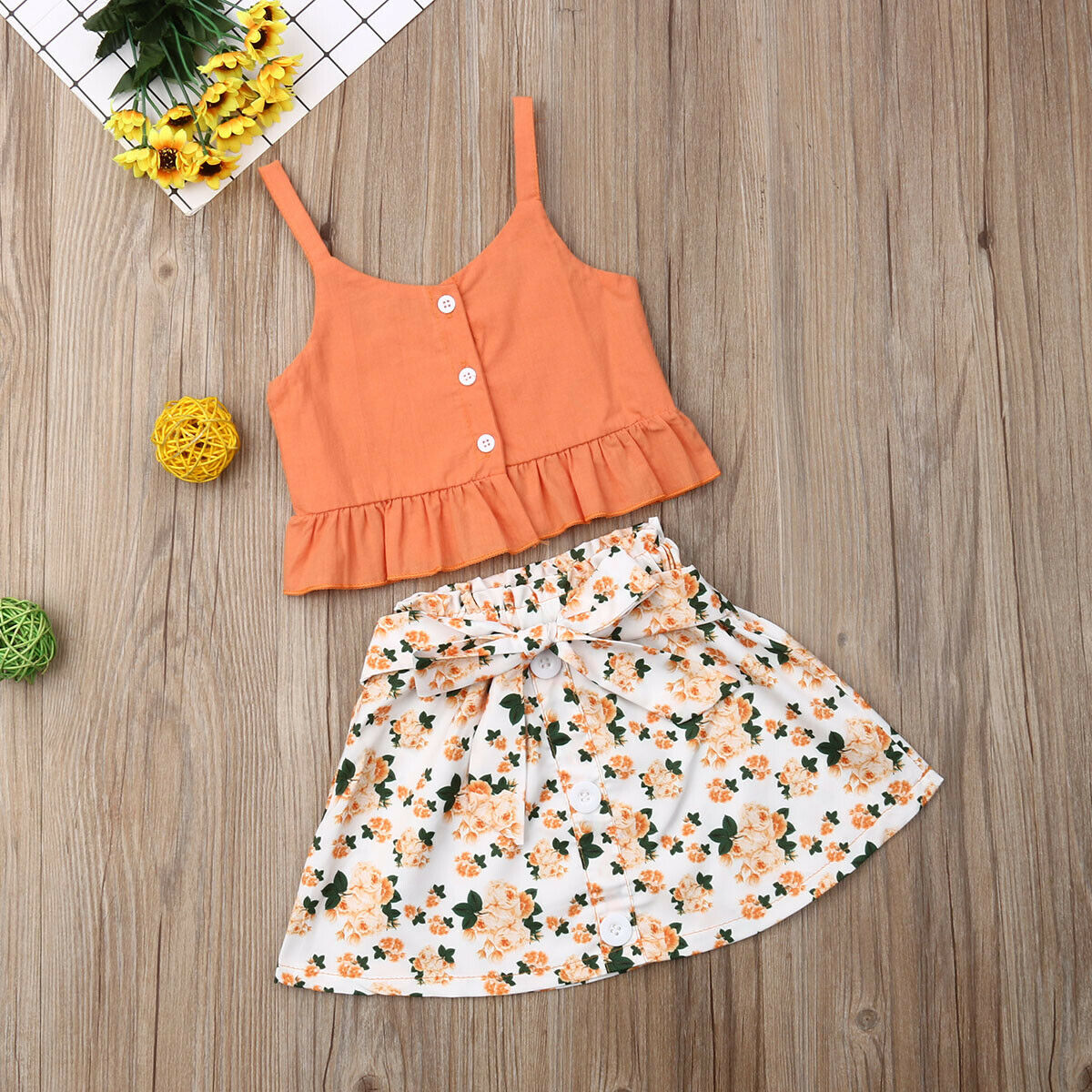1 6T Toddler Kid Baby Girls Floral Outfits Solid Button Ruffle Tank Sling Tops Floral Bandage Skirt Sleeveless Summer 2Pcs Set in Clothing Sets from Mother Kids