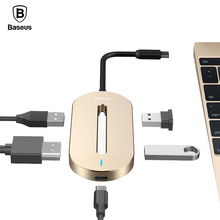 Baseus Universal HUB Type-c Converter Type C Male to HDMI USB 3.0 Type-c Female Adapter Cable For Macbook Pro Type-c Notebook(China)