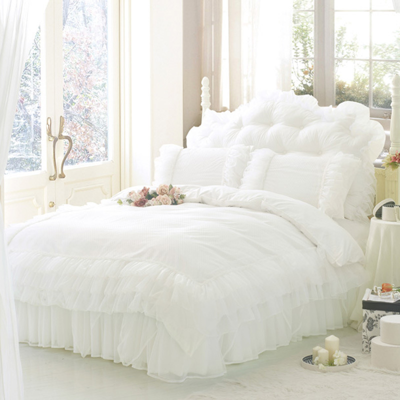 luxury white princess lace bedding set twin queen king size bedding for girl wedding. Black Bedroom Furniture Sets. Home Design Ideas