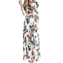 2018 Women Floral Print Maxi Dress New Casual Ladies Long Sleeve O Neck Sexy Long Dresses Vestidos Plus Size