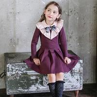 2017 Dziewczyny Winter Dress Nowy Rok Ubrania dla Dzieci Urodziny Eleganckie Sukienki Big Bow Collar dla Wieku 5678910 11 12 13 14 Lat