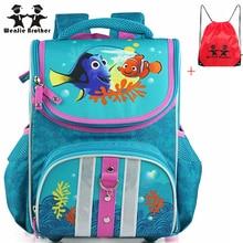Wenjie brother orthopädische gute qualität fisch kreative schultasche wasserdichter rucksack schultasche kinder rucksack für jungen und mädchen