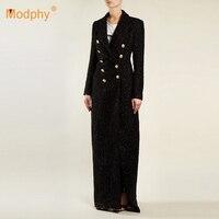 2018 new winter women's slim coat sexy black long sleeved lapel double breasted Lurex long coat celebrity runway party coat