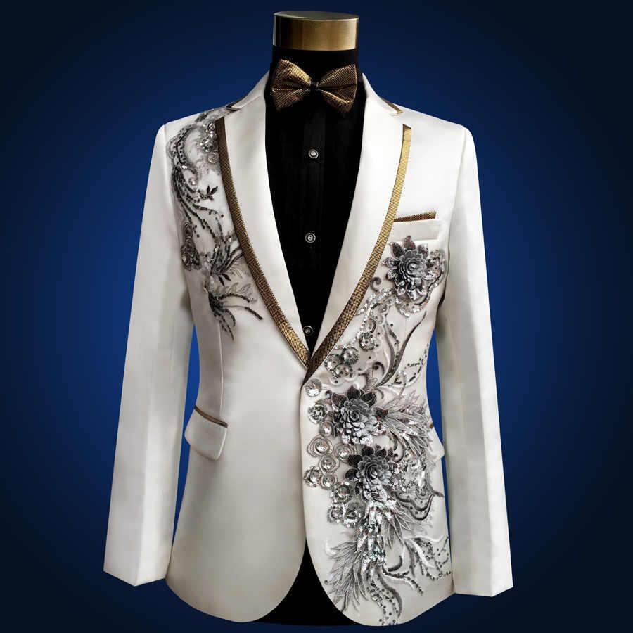 fd0e87d0f0ec ... 2018 Brand Men Wedding Suits Sequins Prom Tuxedo Boyfriend Compere Male  Singer Blazer Slim Fit Black ...