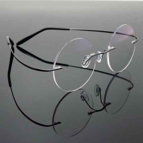 a2be1af262a6 Agstum 46mm Pure Titanium Rimless Vintage Round Flexible Optical Glasses  Frame Eyewear Rx